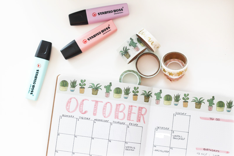 Bullet Journal Washi Setup October