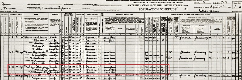 Casbon George 1940 US census Bremer Co IA