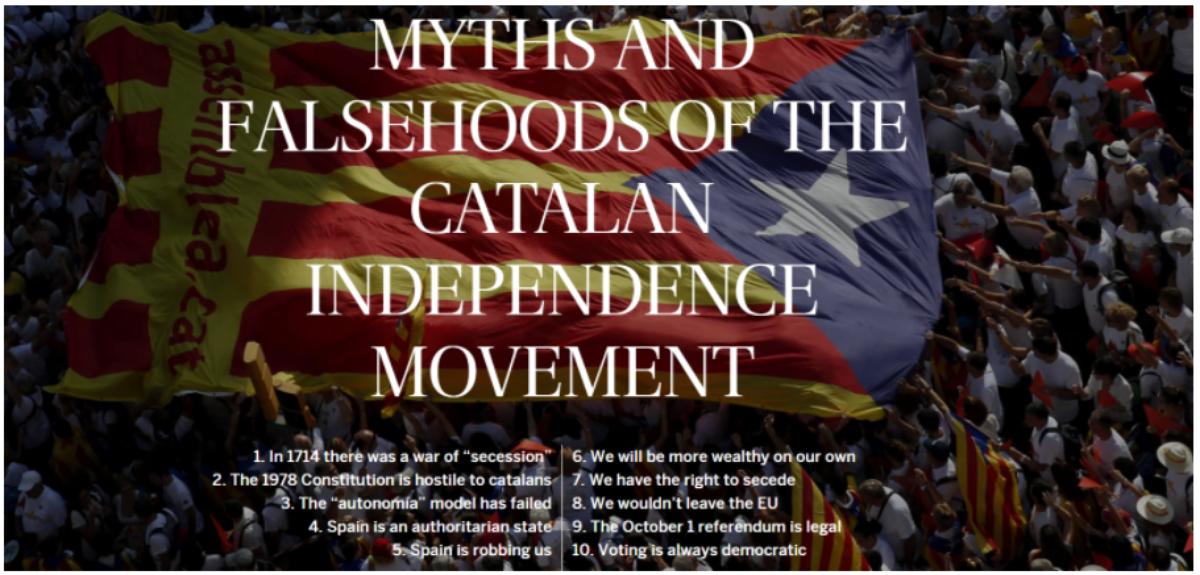 西班牙第一大報El País,亦是親政府立場的報章,在10月1日加泰隆拿獨立公投前推出專題「揭穿」當中的十個迷思和謊言。(網上圖片)