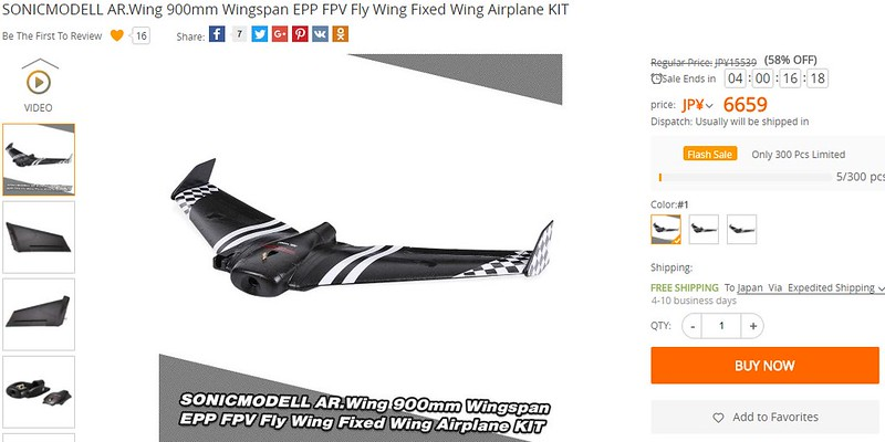 SONICMODELL AR.Wing 900mm Wingspan EPP FPV Fly Wing Fixed Wing Airplane KIT レビュー