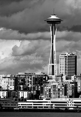 Space Needle and clouds