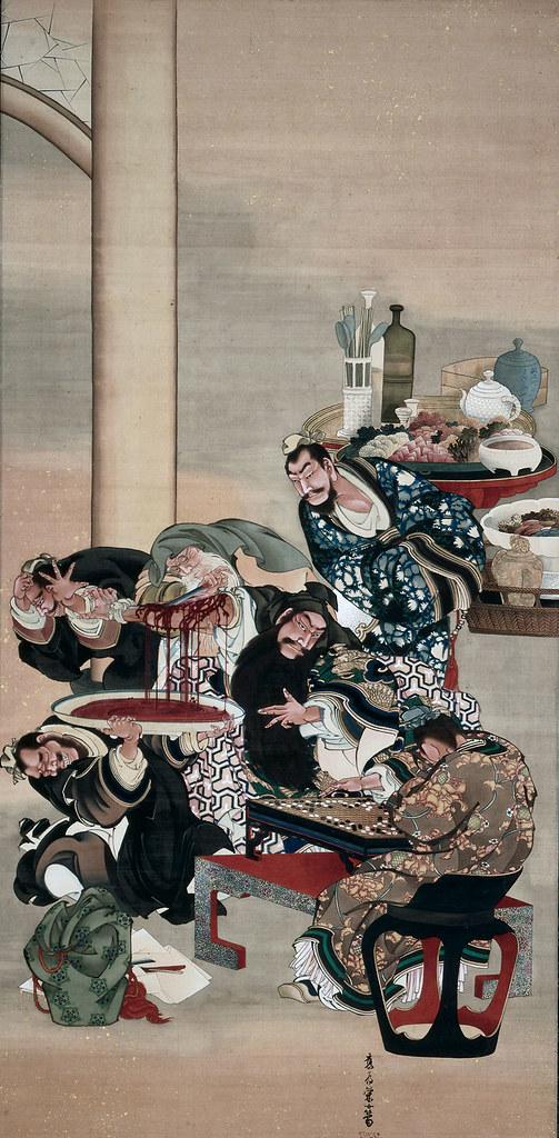 葛飾応為《関羽割臂(かんうかっぴ)図》(1840-54年頃、クリーブランド美術館)