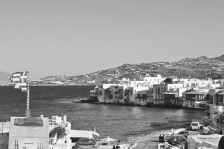 Mykonos - Little Venice harbor bw