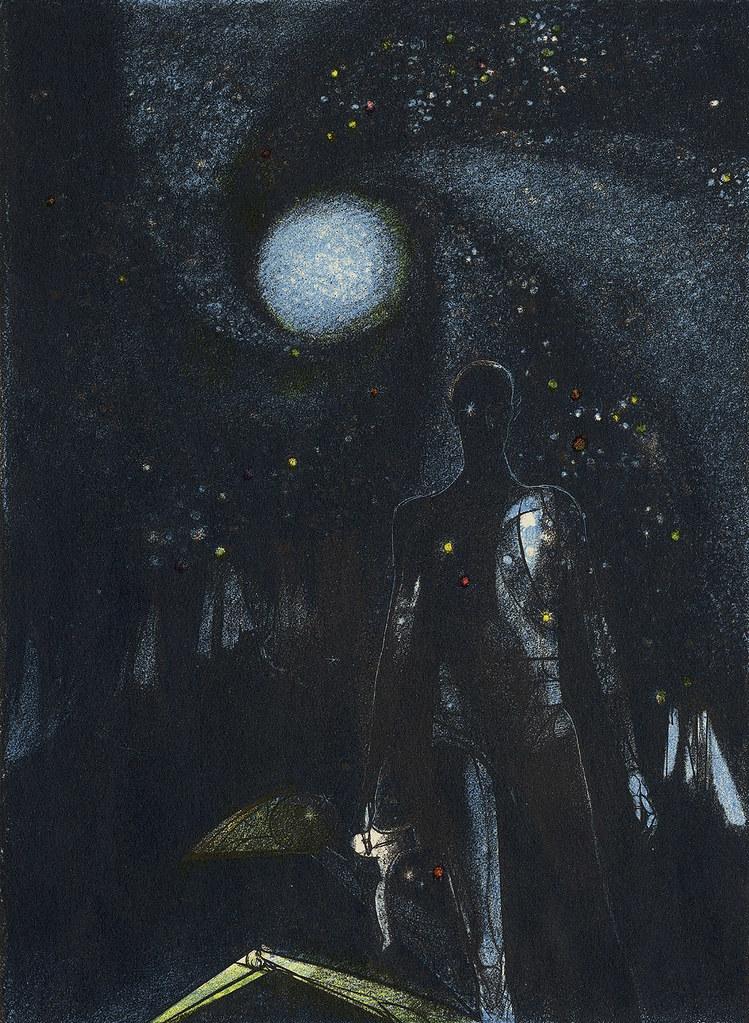 "Joseph Mugnaini - Illustration from  ""The Martian Chronicles"""