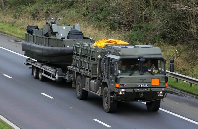 Military Vehicle MAN 9 Ton 4w Cargo KX90AB at M74 Larkhall.