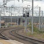 Bescot Yard - Bescot Stadium Station - EWS 66007 and a footbridge