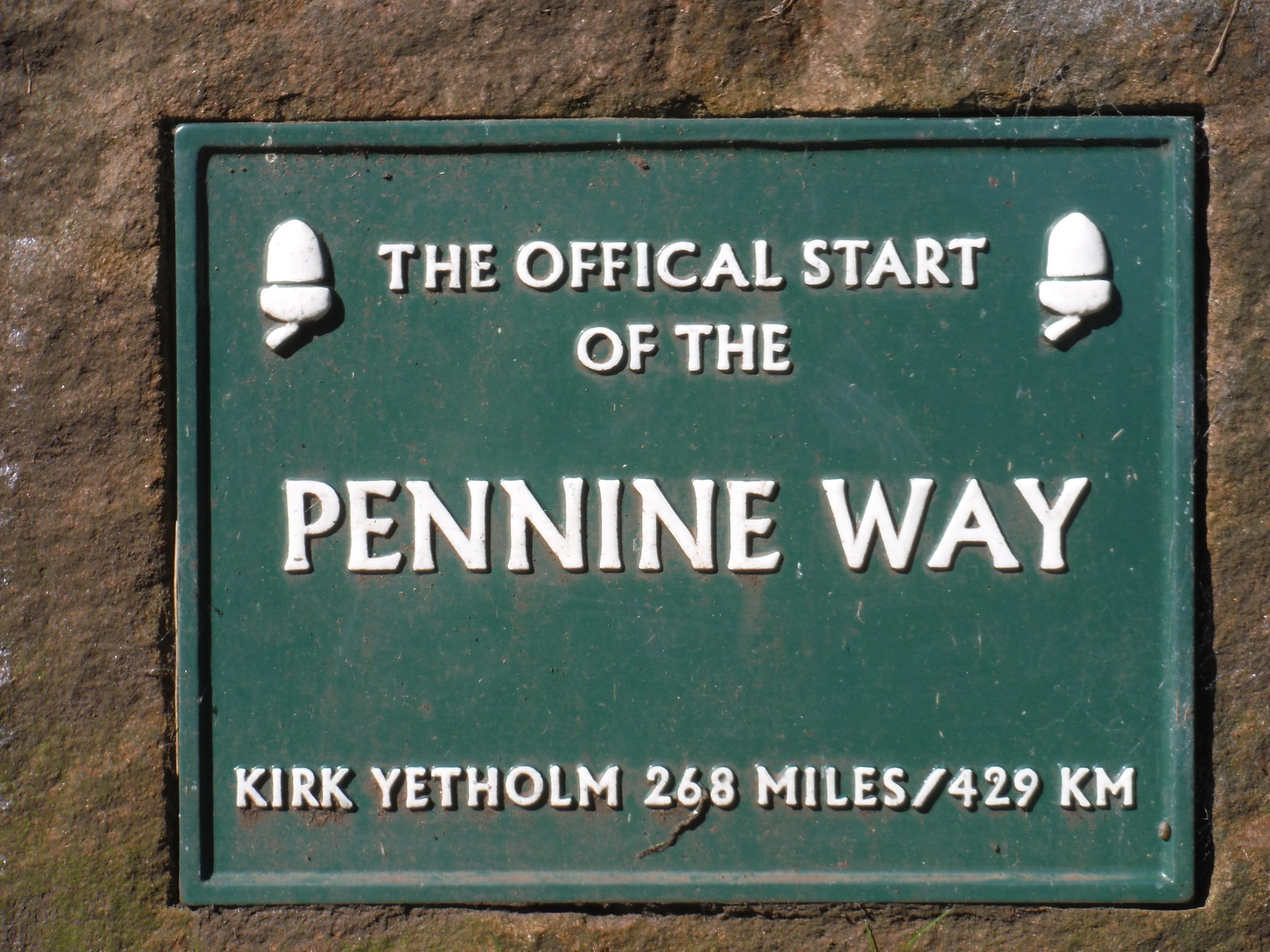Plaque at Start of The Pennine Way, Grindsbrook Booth/Edale SWC Walk 303 - Edale Circular (via Kinder Scout and Mam Tor)