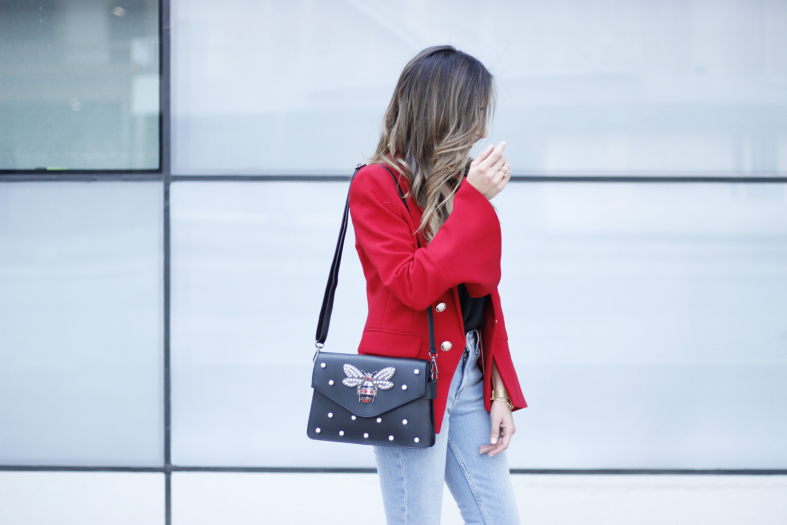 red blazer black heels bee bag denim lace top style fashion outfit trend autumn13