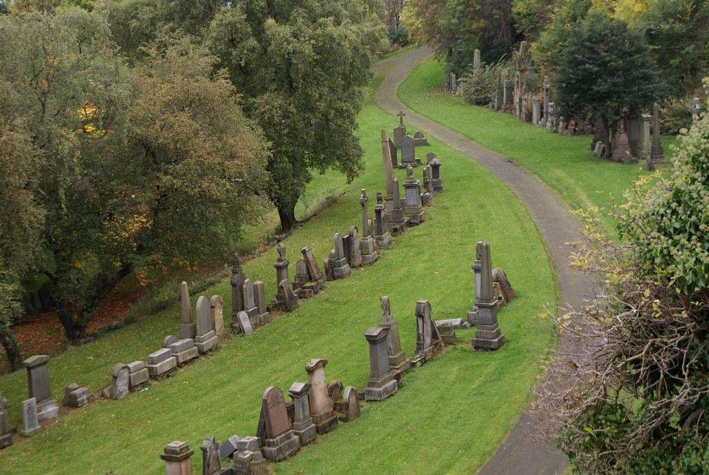 Paysage de la nécropole de Glasgow.