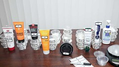 Lineup of shaving cream for shave tests