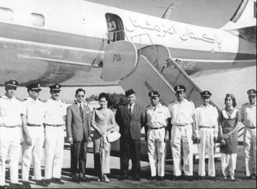 His Majesty King Bhumibol Adulyadej and Her Majesty Queen Sirikit with Royal Pakistani Airlines crew in Pakistan, March 1962