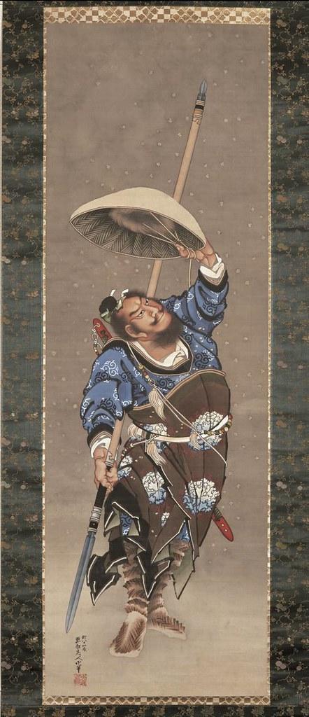 葛飾北斎《雪中中国武人図》(1843年、氏家浮世絵コレクション)