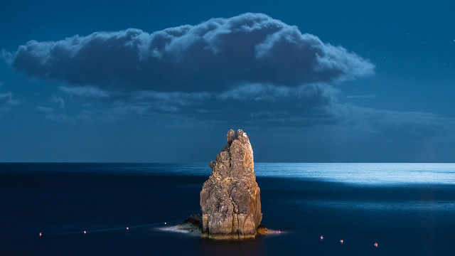 Beach view at night from Lido, Funchal, Madeira