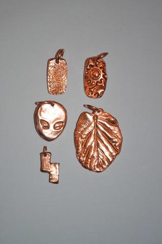 Copper clay pendants