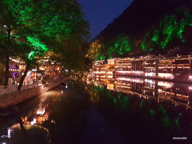 Fenghuang Ancient Town lit up at night