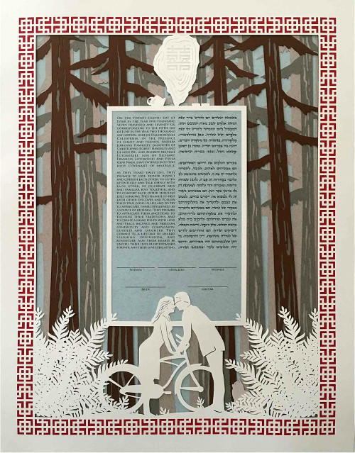Custom Bicycle Ketubah by Papercuts By Oren