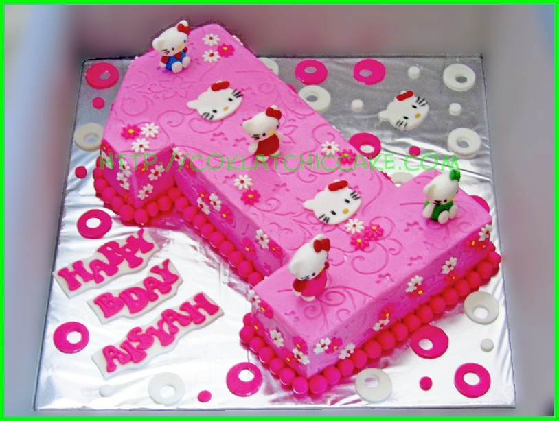 Cake angka 1 hello kitty AISYAH