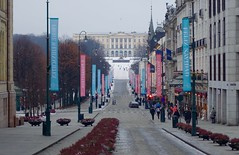Looking down Karl Johans Gate, Oslo, Norway at Christmas, December 2014