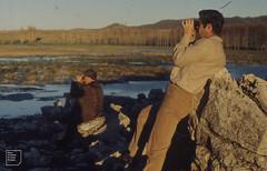 Dickie and Roger watching ruddy shelduck, Atlas