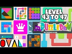 Puzzledom Game CONNECT Level 43 to 47 Novice A Complete Lines In Mutiple Bright Colours   OVAL