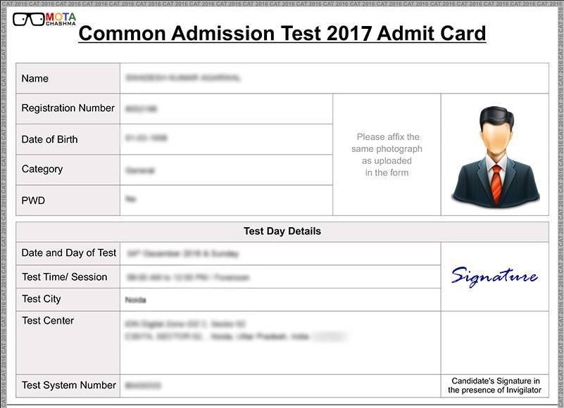Sample CAT 2017 Admit Card