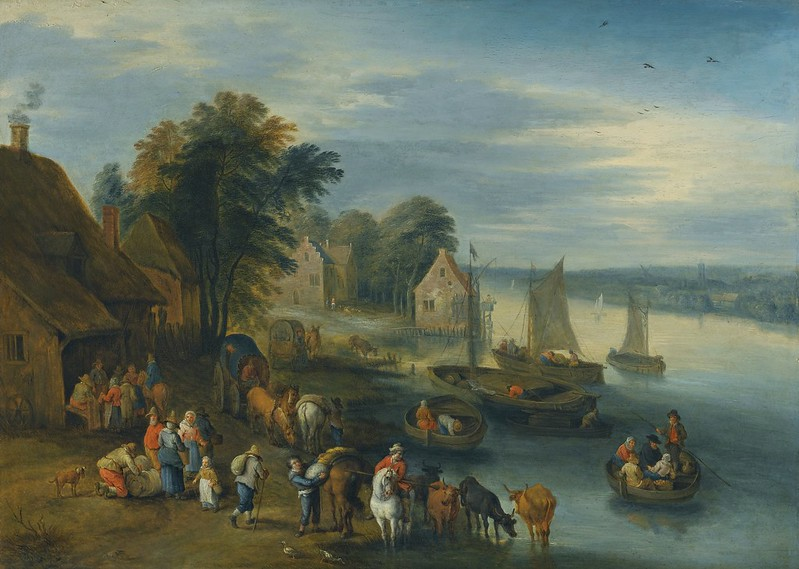 Théobald Michau - A River Landscape with Villagers Unloading Their Boats