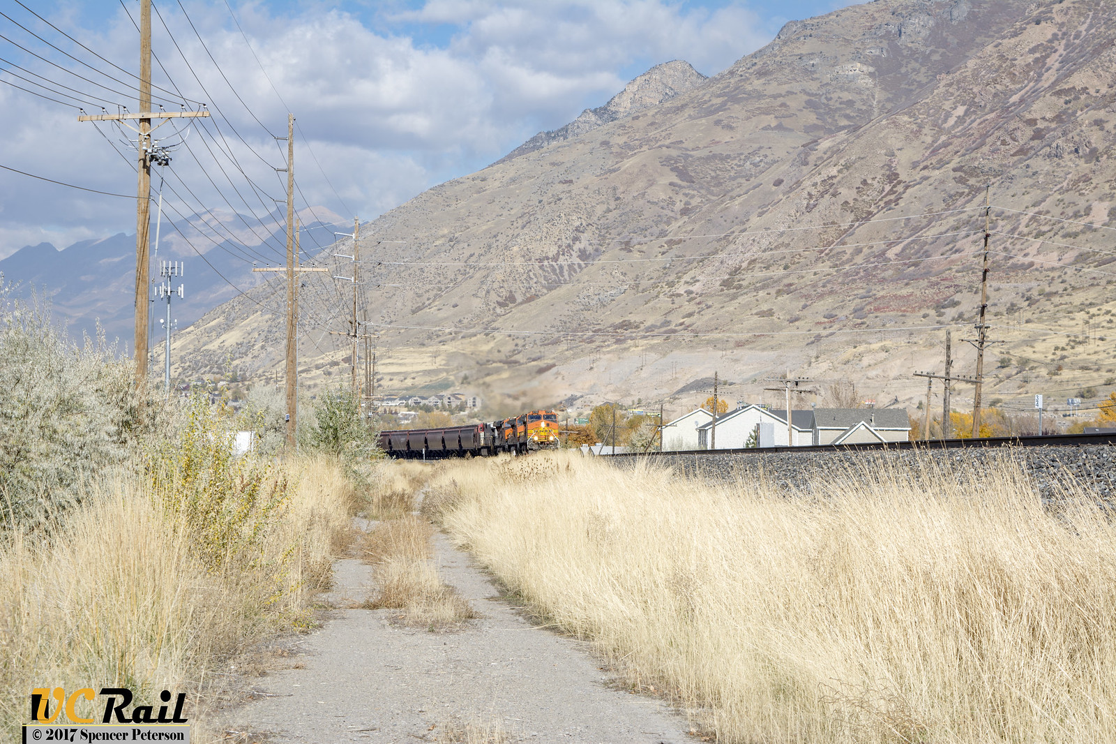 Empty BNSF Grain Train Enters Springville