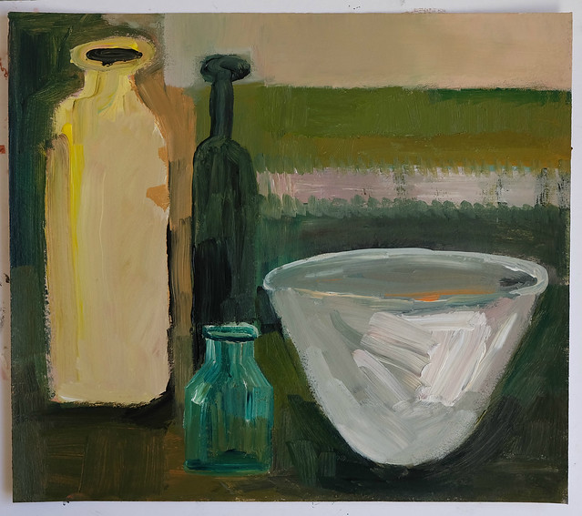 pale bowl with bottles