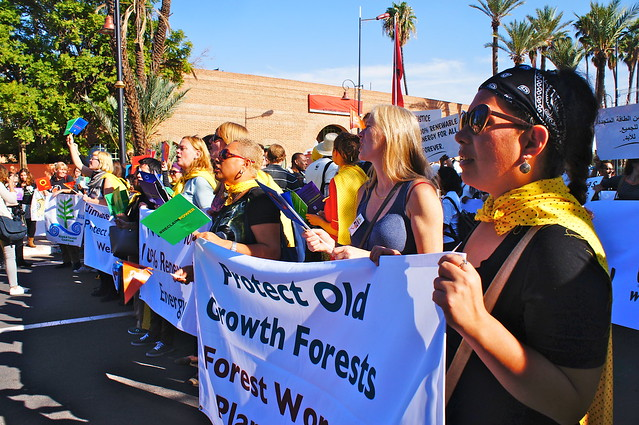 photo of women marching for climate justice