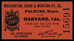 Washington, Idaho & Montana Railway, Destination Harvard, Idaho - Palouse, Washington