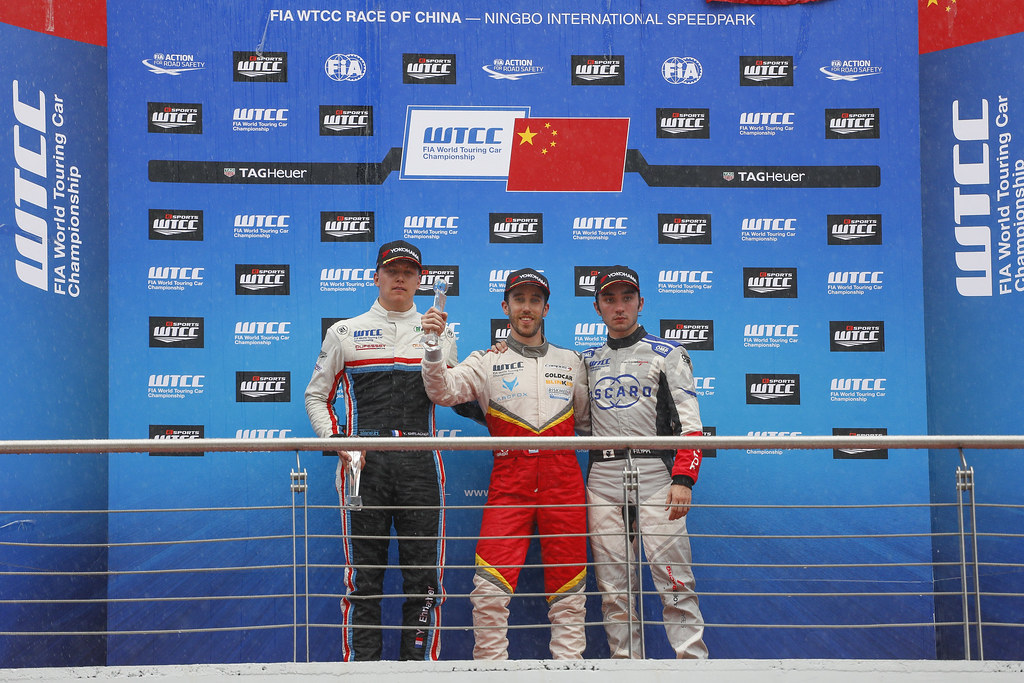 GUERRIERI Esteban (arg) Chevrolet RML Cruze team Campos racing ambiance portrait EHRLACHER Yann (fra) Lada Vesta team RC Motorsport ambiance portrait FILIPPI John (fra) Citroen C-Elysee team Sébastien Loeb Racing ambiance portrait portrait podium ambiance  during the 2017 FIA WTCC World Touring Car Championship at Ningbo, China, October 13 to 15 - Photo Frederic Le Floc'h / DPPI