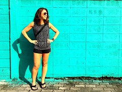 Did a little recon for our next #bangkok #urbanhike today. I liked this wall so we had a little impromptu photo shoot. I :blue_heart: #teal :gem: