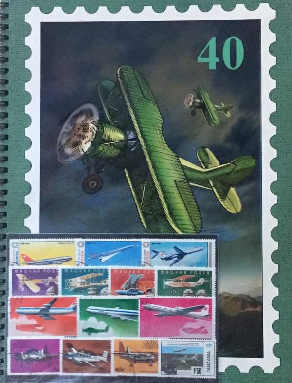 Tematický album A4 a 50 ks rôznych známok lietadlá