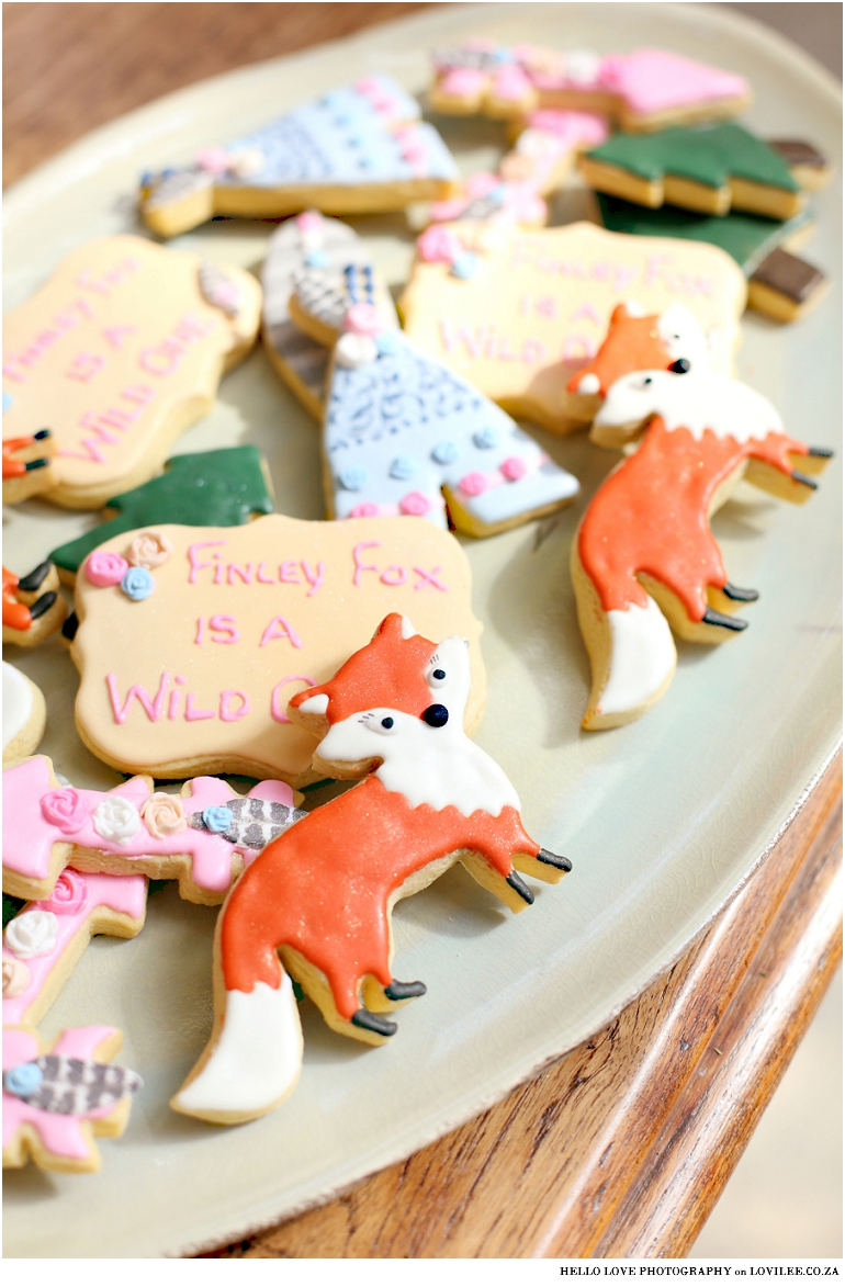 Fox Birthday party 'Wild One' cookies