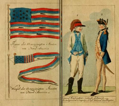 Flag and Washington images 1784 book