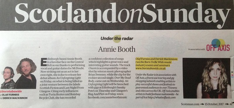 Scotland On Sunday, 15 October 2017, Annie Booth
