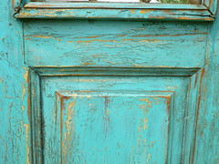 Distressed turquoise door