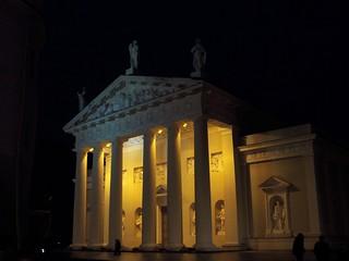 Vilnius, floodlit cathedral