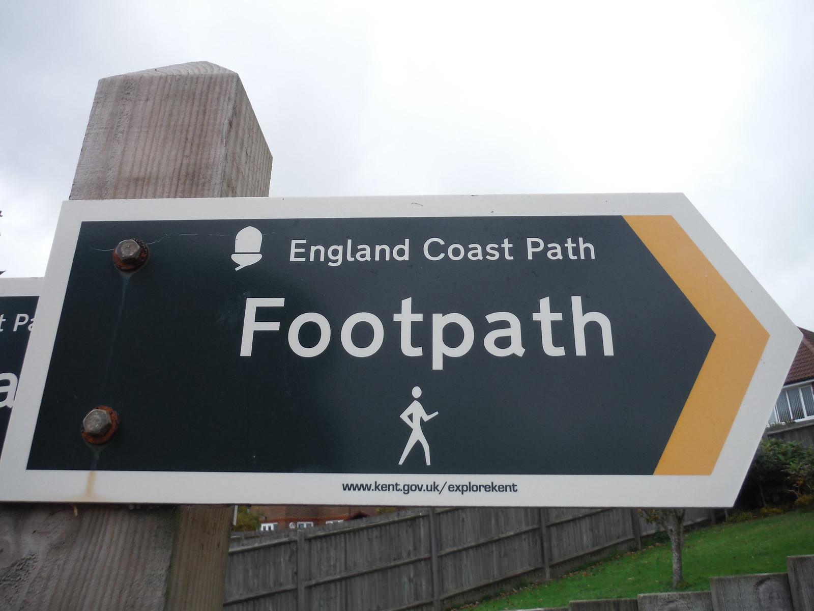 England Coast Path sign SWC Walk 93 - North Downs Way: Sandling to Folkestone or Dover