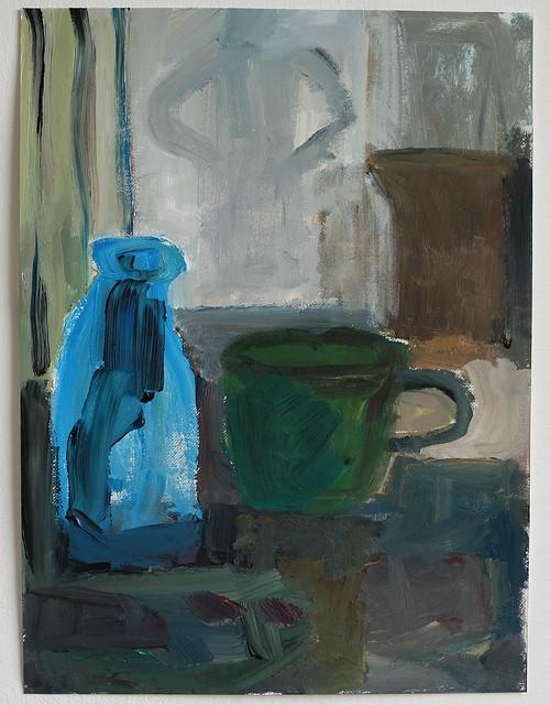 green cup, blue bottle
