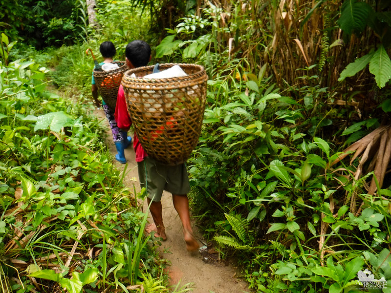 Locals carrying their produce