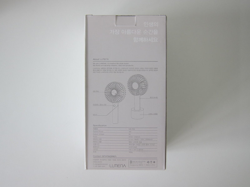 Onan Korea Lumena N9 Fan - Box Back