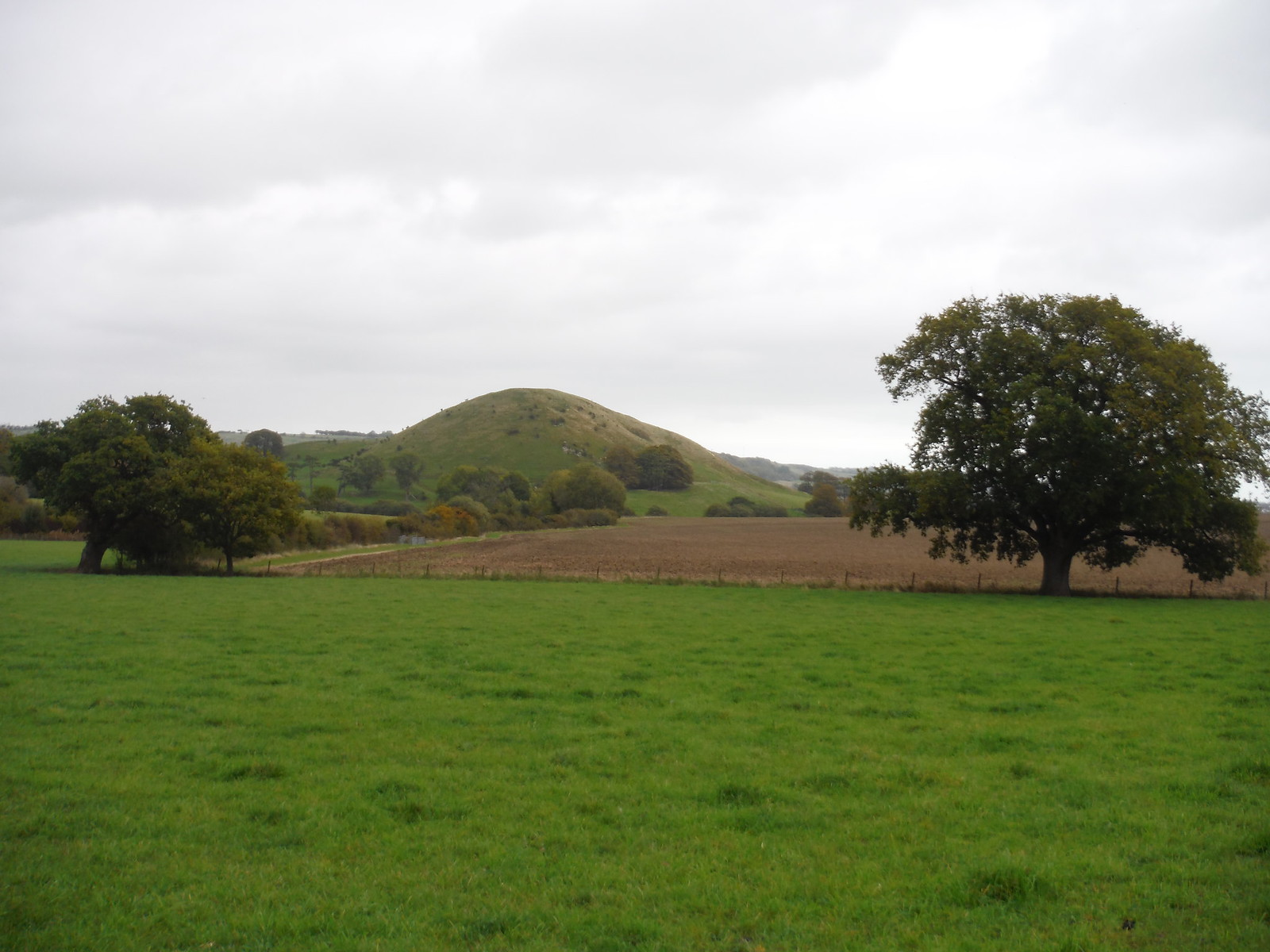 Summerhouse Hill across field SWC Walk 93 - North Downs Way: Sandling to Folkestone or Dover