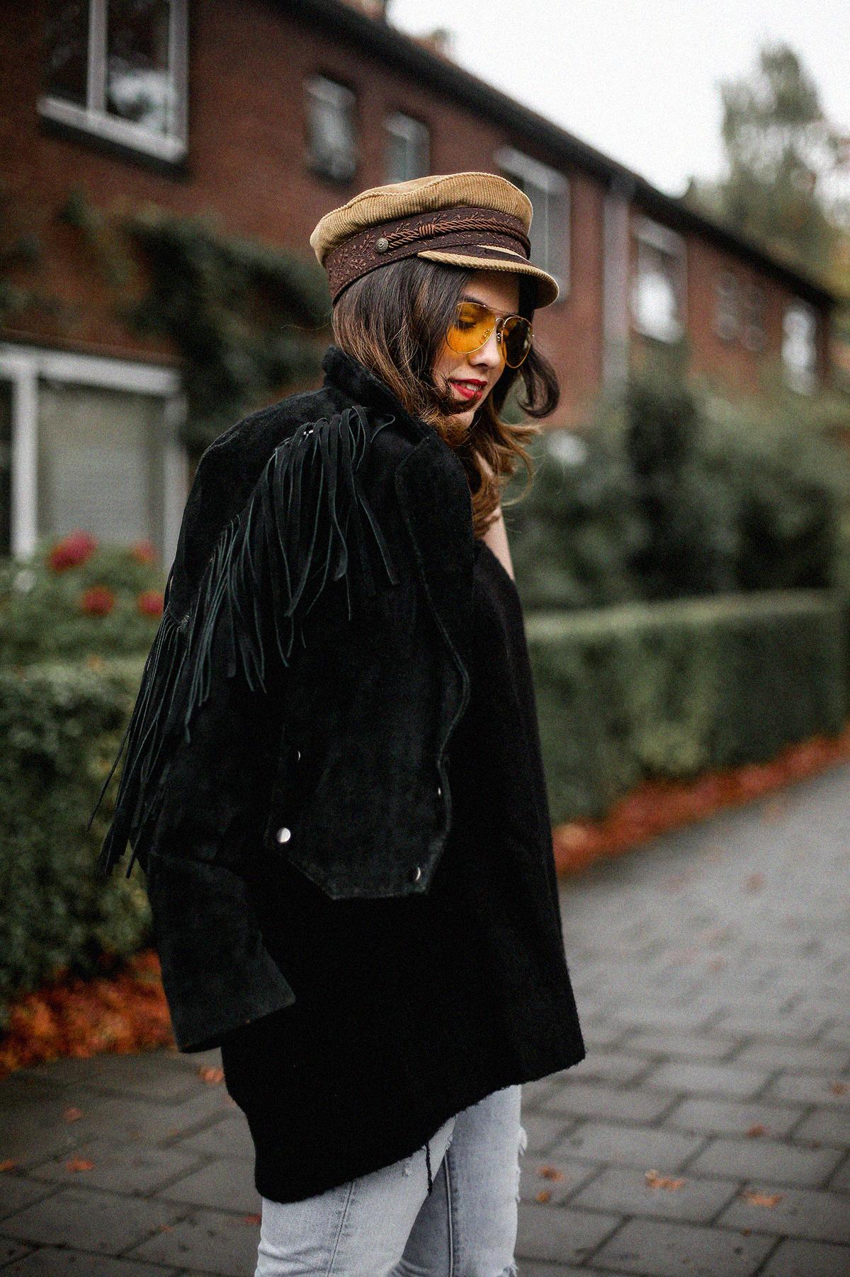 chaqueta de flecos vintage tendencia look myblueberrynightsblog