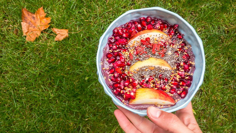 Pomegranate and apple with chia and flax seed in a protein/acai mix