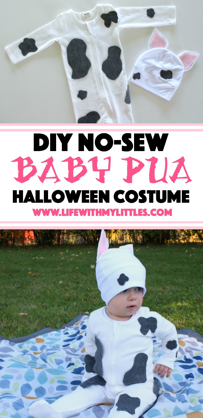 This DIY no-sew baby Pua costume is such a cute Moana Halloween costume idea for a baby! And the tutorial is so helpful!