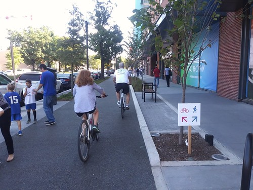 German/Dutch/Danish style separated cycletrack and sidewalk at The Wharf on the outside perimeter of the complex, I Street SW