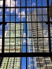 Looking up... Window Indoors  Low Angle View Built Structure No People Full Frame Sky Modern Building Exterior Skyscraper Eyemphotography Architecture Outdoors Looking Out The Window Toronto Canada Architecturelovers Blue Sky Checks Glasswindow