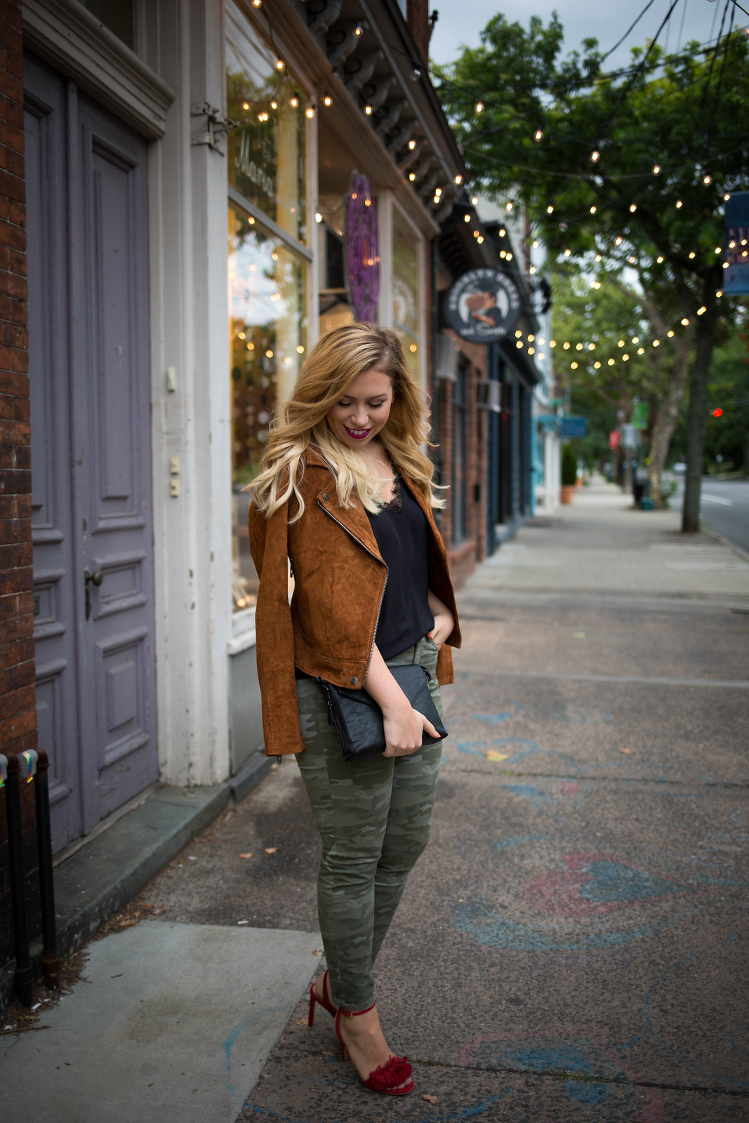 Fall Suede Camo Outfit Jackie Giardina Blogger