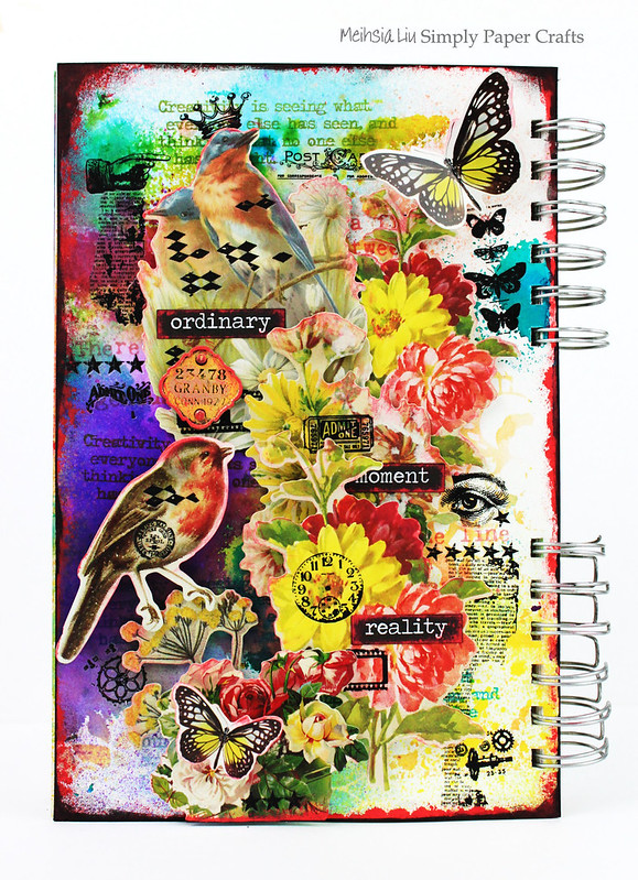 Meihsia Liu Simply Paper Crafts Mixed Media Art Journal Flower Bird Collage Simon Says Stamp Tim Holtz 1